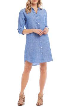 Women's Karen Kane Linen Shirtdress, Size X-Small - Blue