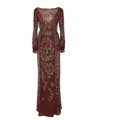 Embroidered Chiffon Draped Gown   Moda Operandi ($16,240) ❤ liked on Polyvore featuring dresses and gowns