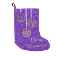 Merry #Christmas Baubles Gold #Purple Stocking Small Christmas Stocking