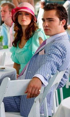 Leighton Meester and Ed Westwick as Blair Waldorf and Chuck Bass on the Gossip Girl Set, 2009 #ChairGossipGirl