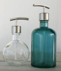 Moon Round Recycled Glass Soap Dispenser - Clear. $15.00, via Etsy.