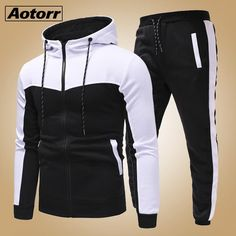 Brand Name: AotorrCollar: O-NeckPant Closure Type: Elastic WaistClosure Type: zipperMaterial: PolyesterSleeve Length(cm): FullStyle: CasualOut Side Length: long pantsMaterial Composition: polyesterDecoration: PocketsPattern Type: Patchwork Mens Tracksuit Set, Track Suit Men, Man Set, Outfit Sets, Shirt Outfit, New Fashion, Creations, Men Casual, Sweatshirts