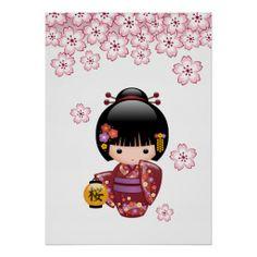 SOLD! To a customer in HI. Sakura Kokeshi Doll Print #cute #kawaii #kokeshi