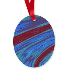 Blue Red Swish Abstract Ornament on CafePress.com