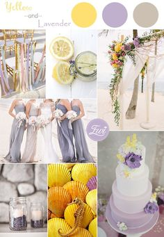 lavender and yellow inspired beach wedding color schemes 2015