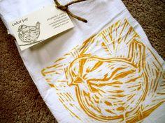 wood block print sparrow tea towel by colorjoy by colorjoy3, $15.00