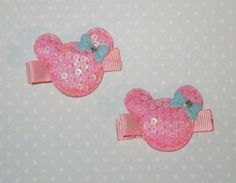 A personal favorite from my Etsy shop https://www.etsy.com/listing/153835392/pink-minnie-mouse-hair-clips-set-of-2