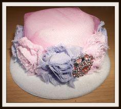 Easter bonnet mini top hat with shabby chiffon by MamaTique, $12.50
