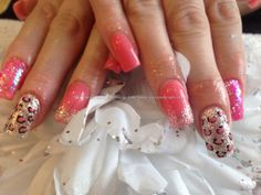 Acrylic nails with pink gelish gel polish gold glitter gelux polish with free hand nail art