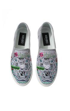 Sneakers Flyer Tiger Slip on GREY - KENZO - Designers - Raglady