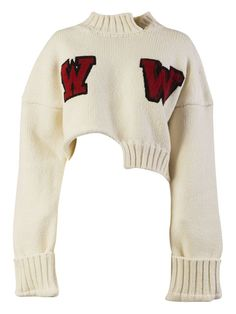 Embroidered Jumper from Off-White: White Embroidered Jumper with cropped length, embroidery detailing on front, long sleeves, wide cuffs, ribbed cuffs and hem … Cropped White Shirt, Crop Shirt, Cropped Sweater, Long Sleeve Sweater, Long Sleeve Tops, White Jumper, Sweater Shirt, Mode Outfits, Fashion Outfits