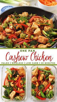 "This easy paleo cashew chicken recipe will make healthy eating both delicious and easy whether you're doing a Whole30 or not! It's made completely in one pot, and in under 30 minutes. It's a family friendly, takeout fake-out recipe that's totally good for you! It's even made with a Paleo almond butter ""peanut sauce""! #whole30cashewchicken #paleocashewchicken #whole30chickenstirfry #paleochickenrecipes"
