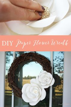 Click through for the step-by-step tutorial to make these giant paper flowers for a wreath, event or nursery wall. Paper Flower Wreaths, Easy Paper Flowers, Giant Paper Flowers, Floral Wreath, Easter Egg Crafts, Easter Decor, Garden Gifts, Diy Wreath, Grapevine Wreath