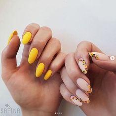 The Best Nail Art Designs – Your Beautiful Nails Cute Acrylic Nails, Cute Nails, My Nails, Stylish Nails, Trendy Nails, Nail Manicure, Nail Polish, Yellow Nail Art, Floral Nail Art