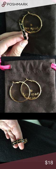 Kate spade hoop earrings. Kate spade hoops with black and gold details. Hinge closure. kate spade Jewelry Earrings