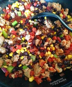 Turkey Taco Skillet or go vegetarian with CRUMBLES, chili powder, cumin and garlic powder, sauteed onion and peppers, diced tomato, chilies, beans, corn.