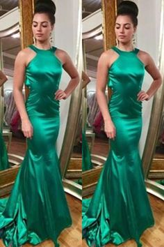 Handmade Simple Cheap Green Long Open Back Mermaid Prom Dresses K662