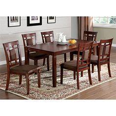 Furniture of America Benny 7 Piece Dining Set in Dark Cherry