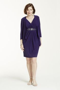 Stylish and chic, any mother of the bride or groom will look flawless in this two piece jersey dress!  Sleeveless jersey bodice features dazzling beaded waist.  3/4 sleeve jacket provides just the right amount of coverage.  Fully lined. Imported polyester/spandex blend. Dry clean only.Also available in Plus sizes as Style 613923DW.