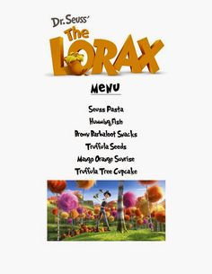 Reel Fancy Dinners: The Lorax Dinner dinner theme Movie Night For Kids, Dinner And A Movie, Family Movie Night, Disney Menus, Disney Dinner, Kid Movies, Family Movies, Movie Themes, Movie Ideas