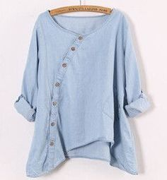 Johnature New Women Shirt Slant Oblique Button Irregular Plus Size Roll Up Sleeve Wash Blue Pocket Loose Casual Top Blouse
