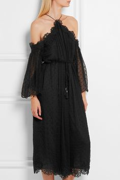 Zimmermann | Lace-trimmed Swiss-dot silk-georgette jumpsuit | NET-A-PORTER.COM