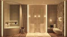 Bathroom, Amazing Pics Of Bathroom Design Ideas With Luxurious Bathrooms And Wood Bathroom Designs Also White Double Washstand With Elegant Wall Lamps Also White Bathtub With Storage Plus White Curtains: Outstanding Bathroom Design Ideas