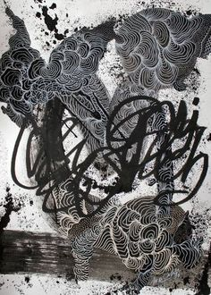 Buy Organic Street XIX-I-XVI, a Ink on Paper by Marijah Bac Cam from France. It portrays: Graffiti, relevant to: paper, pattern, organic lines, black, street, white, graffiti, gestural, marijah bac cam, grey, movement, nature Drawing on watercolor paper 70x50 cm.  Part of the series Organic Street. I mixed on my gestural abstract lines organic lines and Graffiti.   Not framed.