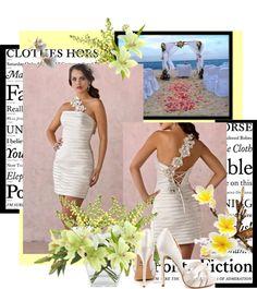 """2012 Column Strapless Neckline Sleeveless Tea Length White Satin Wedding Dress"" by buyweddinggowns on Polyvore"