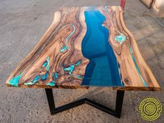 Live edge river dining table with turquoise glowing resin image 0 Wood Resin Table, Epoxy Resin Table, Wood Table, Resin Table Top, Dining Table With Bench, Glass Dining Table, Dining Tables, Outdoor Dining Furniture, Living Furniture