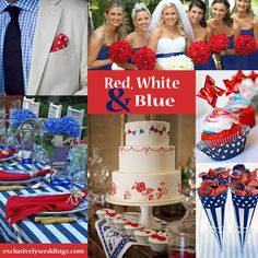 Red, White and Blue Wedding! Read more about a July 4th or patriotic wedding here: http://blog.exclusivelyweddings.com/2012/07/01/fourth-of-july-wedding/