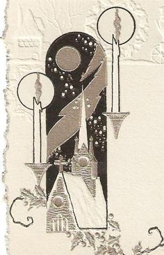 Church and Candles Art Deco Christmas Card via Etsy