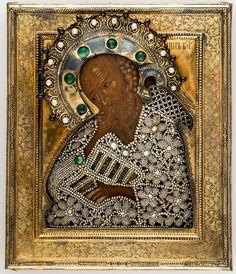 Hl. Johannes im Schweigen Zentralrussische Ikone, 2. Hälfte 17. Jahrhundert Silberoklad mit Perlenkleid, Petersburg 1892 31,5 x 26,7 cm