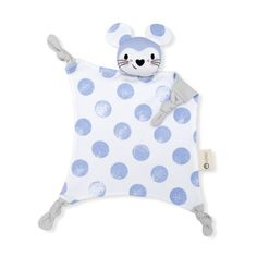 Kentucky blue and white moon print baby security blanket. Luna is a mouse who lives in the Kippi moon! The perfect baby shower gift, shop online. Baby Gift Hampers, Kids Sleeping Bags, Baby Security Blanket, Baby Comforter, Baby Mouse, Organic Baby, Organic Cotton, Baby Prints, New Baby Gifts