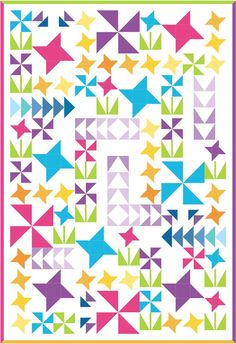 You Grow Girl Modern Quilt Kit Large Lap or by fabricaddictshop