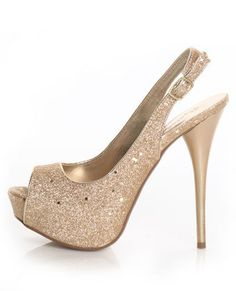 Qupid Champagne Glitter Slingback Pumps $32 For when I go to the Oscars :)