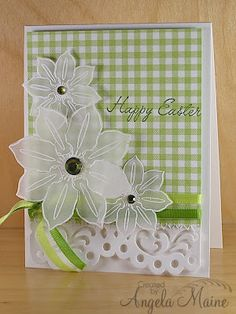 handmade card ... luv the trio of vellum flowers on the green gingham paper ... lovely!!