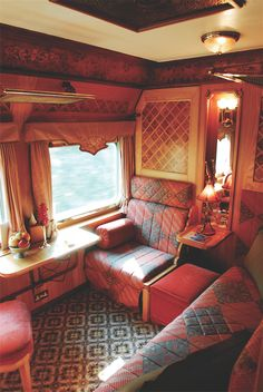 Wood-paneled compartments like this State Cabin are designed to evoke the golden age of train travel.