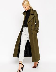 Image 1 of ASOS Coat in Maxi Length and Military Detail