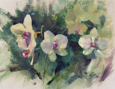 """""""Orchids at the Conservatory"""" (oil on linen, 14""""x18""""), painted at the Lewis Ginter Botanical Garden during the Brazier Studio and Gallery Inc.'s Plein Air Richmond. Available for purchase. #patricksaunders #patricksaundersfineart #patricksaundersfinearts #patsaunders #pleinairstreaming #saundersfinearts #pleinairrichmond #richmond #virginia #floral #orchid #orchids #floralpainting #flowerpainting"""
