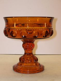 Vintage Indiana Amber Glass Kings Crown Compote by GarageSaleGlass, $16.99