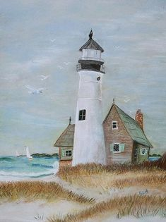 Lighthouse Art Print by Rebekah Amick. All prints are professionally printed, packaged, and shipped within 3 - 4 business days. Choose from multiple sizes and hundreds of frame and mat options. Lighthouse Painting, Sailboat Painting, Lighthouse Pictures, Am Meer, Beach Art, Painting Inspiration, Vintage Art, Watercolor Paintings, Watercolor Landscape
