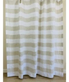 """Decorate your bathroom with this attractive linen shower curtain, featuring classic 3.5"""" wide cabana stripes in undyed natural linen and white colors. Made of 100-percent linen flax, this shower curtain is conveniently machine washable and makes an excellent addition to any bathroom. Romantic Room, Romantic Homes, Home Decor Inspiration, Design Inspiration, Interior Decorating, Interior Design, Wide Stripes, White Colors, Living Styles"""