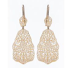 SKU-RPSE08590 - Gold plated sterling silver filigree work earring