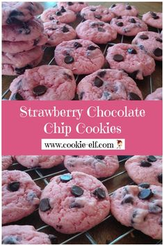 Strawberry Chocolate Chip Cookies: easy cake mix cookie recipe from The Cookie Elf Drop Cookie Recipes, Cake Mix Cookie Recipes, Cake Mix Cookies, Fruit Cookies, Cake Mixes, Oatmeal Cookies, Cupcakes, Chocolate Chip Cookie Mix, Chocolate Cookie Recipes
