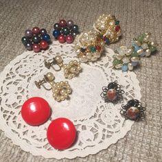 Vintage Beaded Earrings 50s 60s Cluster by VintageFlowerTop