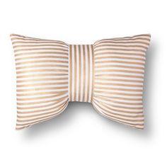 Xhilaration® Metallic Stripe Bow Decorative Pillow - Gold/White (Square) kate spade-esque bow pillow