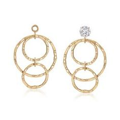 Real 14kt Yellow Gold Polished Hammered Oval Earring Jackets