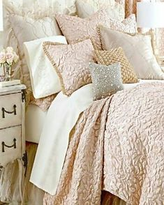 What kind of bedroom decor do you favor? The days when the bedroom had to be crisp clean simple and . Read Sweet Shabby Chic Bedroom Decor Ideas to Fall in Love With Bedding Master Bedroom, Dream Bedroom, Home Bedroom, Bedroom Decor, Bedroom Ideas, Ivory Bedroom, Bedroom Designs, Shabby Chic Bedrooms, Shabby Chic Homes
