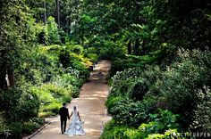 The newlyweds taking a stroll through Duke Gardens!